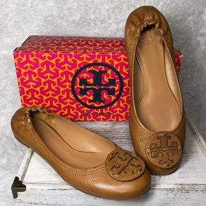NEW Tory Burch Reva Leather Ballet Flats Royal Tan